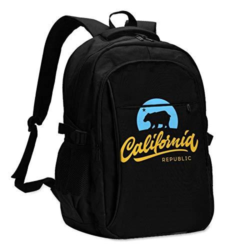 XCNGG Retro California Republic Unisex Travel Laptop Backpack with USB Charging Port School Anti-Theft Bag