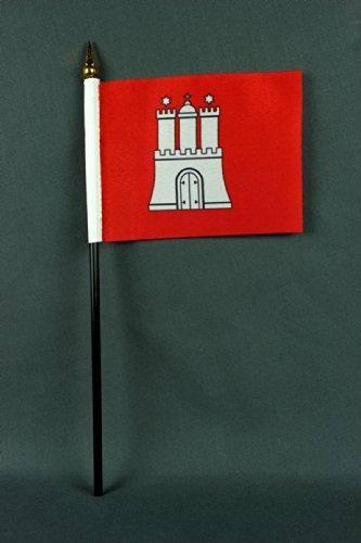 Buddel-Bini Kleine Tischflagge Hamburg 15x10 cm mit 30 cm Mast aus PVC-Rohr, ohne Ständerfuß