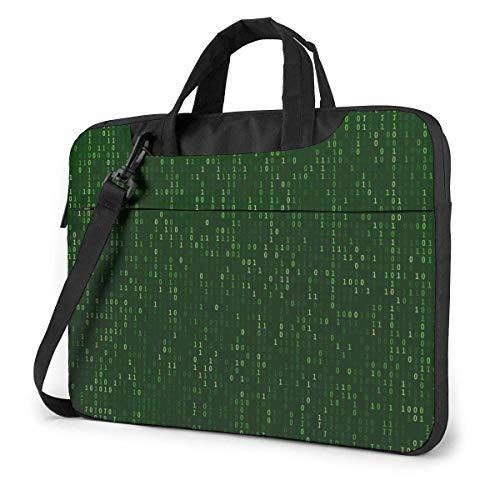 Adults Student Laptop Bag Protective Notebook Computer Protective Cover Handbag Matrix Code Stream Green Data Binary Screens