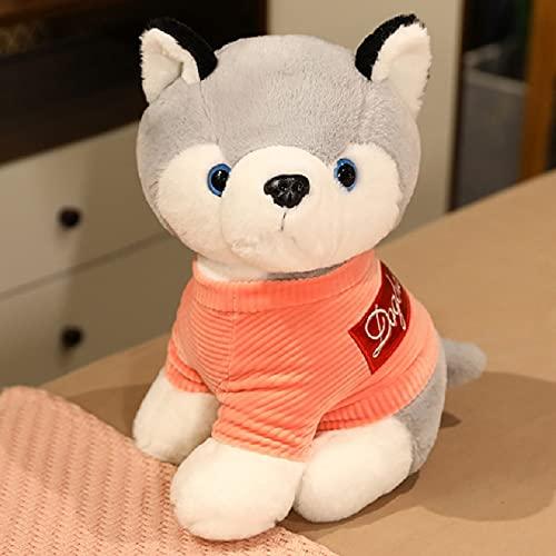 Peluches 23cm Perros De Peluche De Felpa Husky Encantador Suéter Perro Mascota Juguete Animal De Peluche Niños Cumpleaños Navidad Regalos