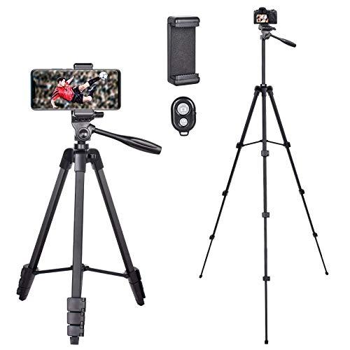"""Treppiede Smartphone, Cavalletto per Smartphone 140cm(55"""" ) treppiedi per Macchina Fotografica, Smartphone, iPhone, Webcam, Treppiede livella a bolla con telecomando bluetooth"""