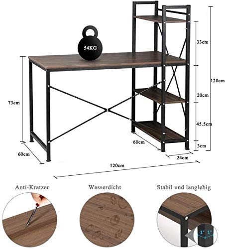 Dripex Holz Schreibtisch Computertisch 120x60x120cm PC-Tisch Bürotisch Officetisch Stabile Konstruktion Tisch für Home Office Schule 4