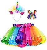 Simplicity Girls Tutu Rainbow Tutu Toddler Layered Tulle Girls Tutu Skirt Dress up Costumes Birthday Tutu Unicorn Headband Hair Bow