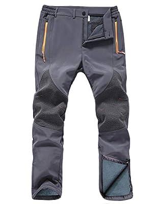 Gash Hao Mens Snow Ski Waterproof Softshell Snowboard Pants Outdoor Hiking Fleece Lined Zipper Bottom Leg (Grey, 32x30)