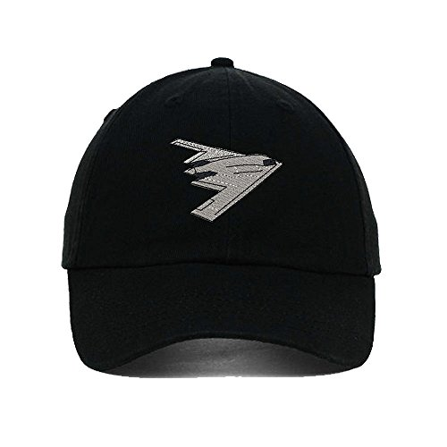 B-2 Stealth Bomber Embroidery Twill Cotton 6 Panel Low Profile Hat Black