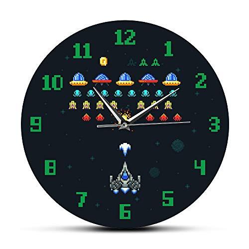 NIGU Día del miembro regalos para las mujeres Vintage Videojuegos Espacio Alien InPixel Nave espacial Niños Sala de juegos Reloj de pared Arcade Video