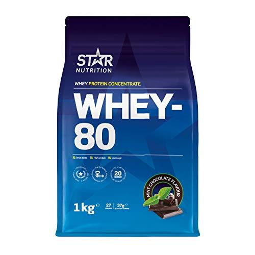 Star Nutrition® | Whey Protein Pulver 80 | Reines konzentriertes Molke Proteinpulver mit hohem Proteingehalt und niedrigem Zuckergehalt | Schokoladengeschmack mit Minze | 1 kg
