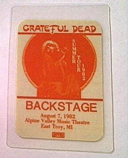 1982 8/7 Grateful Dead Backstage Pass Alpine Valley, WI Error