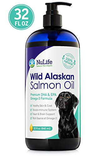 Wild Alaskan Salmon Oil for Dogs, Omega 3 Fish Oil Liquid, Skin and Coat Supplement for Shedding, Dry Itchy Skin, Allergies, Immune & Heart Health, All Natural EPA + DHA Fatty Acids, 32 oz Pump Bottle