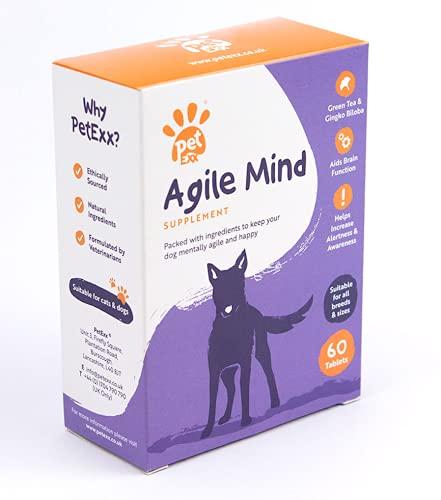 PetExx Agile Mind 60 tablets - senior pet brain supplement with Omega 3's CoQ10 Gingko Biloba Vitamin B6 Vitamin B12 Vitamin D3 & Vitamin E - manufactured in the UK