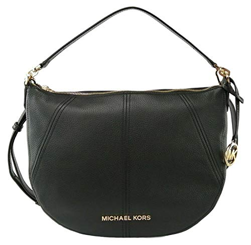 """Crescent shape convertible shoulder/crossbody bag in pebble leather with gold-tone hardware. Zip top closure. MK logo lettering across the front and logo charm hangtag. Leather shoulder strap with 7"""" drop and adjustable/detachable crossbody strap wit..."""