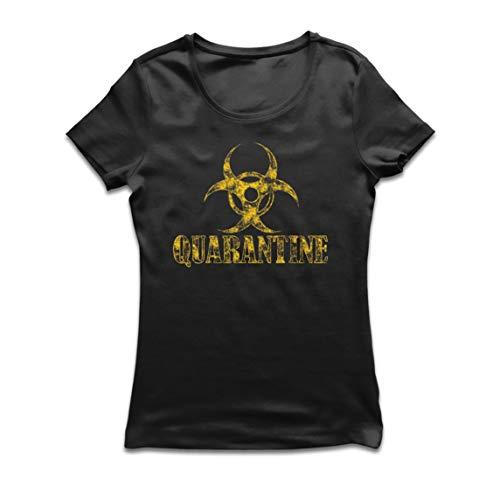 lepni.me Camiseta Mujer Cuarentena y Descanso Distanciamiento Social Quedarse en Casa (Medium Negro Multicolor)