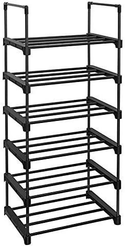 SONGMICS 6 Tier Shoe Rack Iron Shoe Storage Organizer Customizable Design Space Saving and Versatile product image