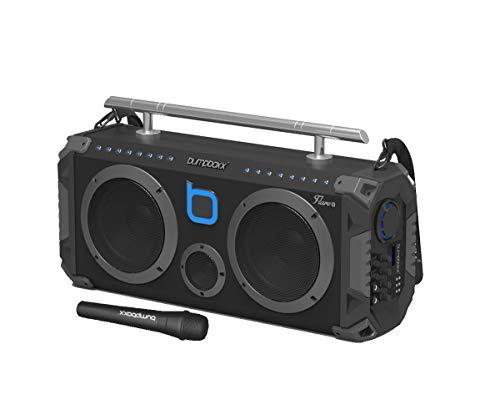 Bumpboxx Bluetooth Boombox Flare8 Black | Retro Boombox with Bluetooth Speaker | Rechargeable Bluetooth Speaker