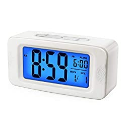 Plumeet Digital Alarm Clock, Light Up All Night, 4'' LCD Display Showing Time Alarm Date, Bedside Clocks with Snooze for Bedroom Kitchen Office Battery Operated (White)