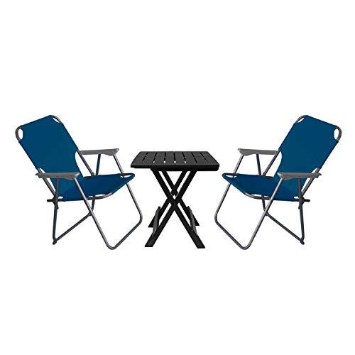 Multistore 2002 3tlg. Campingmöbel Set Klapptisch 55x75cm Anthrazit Kunststoff + 2 Campingstühle Klappstühle Blau Sitzgruppe Camping
