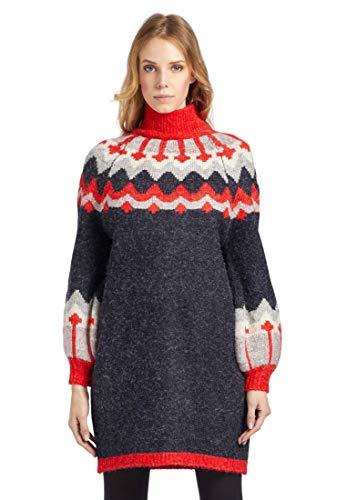 khujo Damen Pullover TEONA mit Norwegermuster Langer Feinstrickpulli mit Tulpenärmeln
