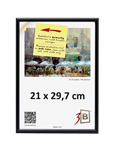 3-B Cadre photo - 21 x 29,7 cm (A4) - Noir - Cadre photo en plastique avec verre en polyester