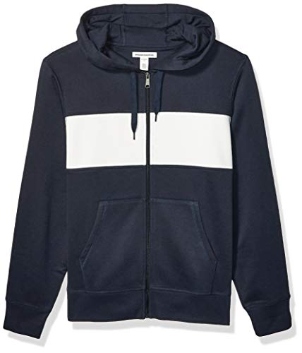 Amazon Essentials Men's Full-Zip Hooded Fleece Sweatshirt, Navy/White Stripe X-Small