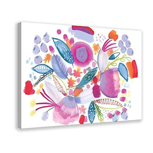Stampa artistica da parete con fiori e botanici, 1 poster su tela, decorazione da parete per soggiorno, camera da letto, 60 x 90 cm. Telaio: