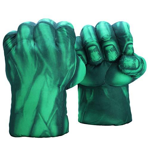 Fairzoo Hulk Smash manos puños grandes suave peluche–guantes de entrenamiento de boxeo par Halloween disfraz, suave, Talla única, Verde