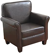 HomePop Youth Wing Back Chair, Dark Brown Faux Leather