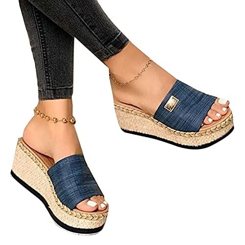 Mecia Sandalias de verano informales, cómodas, bonitas sandalias de tacón bajo para mujer