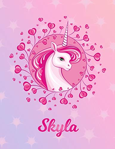 Skyla: Unicorn Sheet Music Note Manuscript Notebook Paper – Magical Horse Personalized Letter S Initial Custom First Name Cover – Musician Composer … Notepad Notation Guide – Compose Write Songs