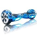 windgoo n1 overboard hoverboard, 6.5 pulgadas 250w 2wd glyboard, actualiza con altavoces bluetooth & luz led, regalo para niño adulto (a camuflaje azul)