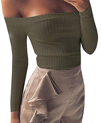 Hey~Yo Herbst Winter Bustier Oberteile Damen Einfarbig Wort Schulter Crop T-Shirt Tops Reizvolle Schulterfrei Bolero Pulli Langarm Pullover Blouse Tuniken Hemden Sweatshirt- Gr. 34 (S), Armee Grün