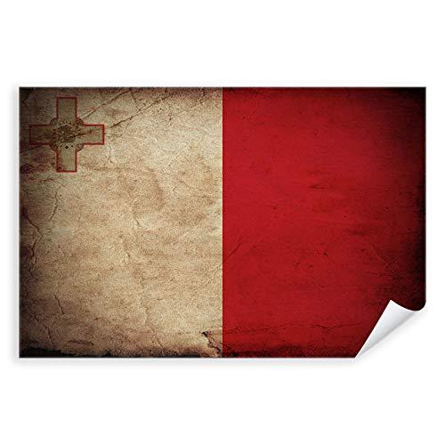Postereck - 0311 - Vintage Flagge, Fahne Malta Valletta - Unterricht Klassenzimmer Schule Wandposter Fotoposter Bilder Wandbild Wandbilder - Poster mit Rahmen - 29,0 cm x 19,0 cm
