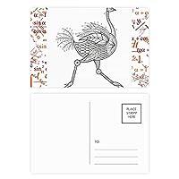 ランニングの長い鳥ペイント 公式ポストカードセットサンクスカード郵送側20個