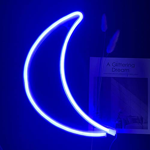 ENUOLI LED Blue Crescent Moon Neon Light Signs, Moon Neon Signs for Wall Decor Light up Sign Art Decor Blue Moon LED Sign for Christmas Bedroom Home Kids Bedroom Birthday Party