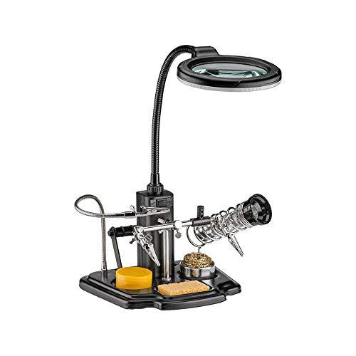 Fixpoint Löthilfe mit LED-Lampe | Schwanenhals-Krokodilklemme Lupe mit LED Lampe, 1 Stück, 45241