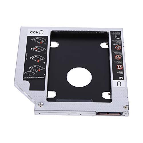 Unidad de Disco Duro de 9.5 mm Optical Bay Caddy 2.5Inch SATA-13Pin (6 + 7) Reemplazo de Unidad óptica Adaptador de DVD óptico para computadora portátil con Destornillador (Segundo Sistema operativo)