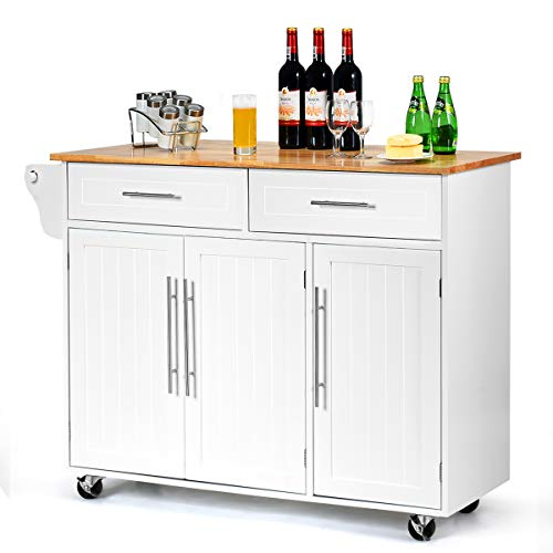 CASART. Rolling Kitchen Cart Kitchen Trolley with 2 Drawers and Large...