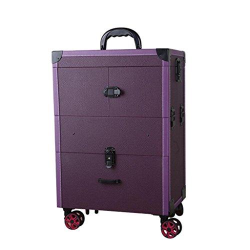 Maquillage Chariot Trolley, Cosmétiques Beauty Trolley Box, Organisateur De Coiffure De Stockage Pour Salon, Beauty Studio, Maquilleur Professionnel Noir (Couleur : Purple)