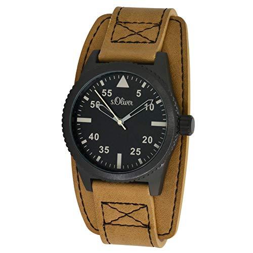 s.Oliver Herren-Armbanduhr Analog Quarz Leder SO-15151-LQR