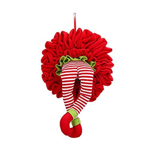 La pierna elfa creativa de la Navidad sube de la guirnalda decoraciones colgantes for la pared de la puerta colgando guirnalda de la guirnalda rbol de Navidad Decoraciones divertidas ( Color : Red )