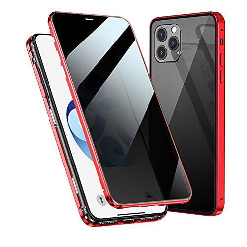 WYCcaseA Funda para iPhone 12/12 Mini/12 Pro MAX [Vidrio de Doble Cara][Adsorción Magnética][Marco de Metal] Anti-Pío Anti Rasguños Anti Arañazos Case,Rojo,11PROMAX
