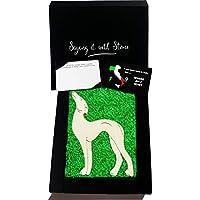 Lebrel de Piedra Hecho a Mano en Italia - Incluye Caja de Regalo y Tarjeta de Mensaje - Símbolo de Devoción, Protección, Lealtad, Amistad y Amor - Cumpleaños Lurcher Galgo Greyhound
