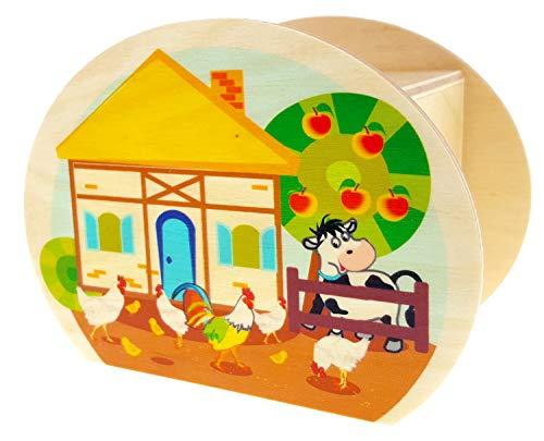 Hess Holzspielzeug 15225 - Spardose aus Holz mit Schlüssel, Bauernhof, Geschenk für Kinder zum Geburtstag, ca. 11,5 x 8,5 x 6,5 cm