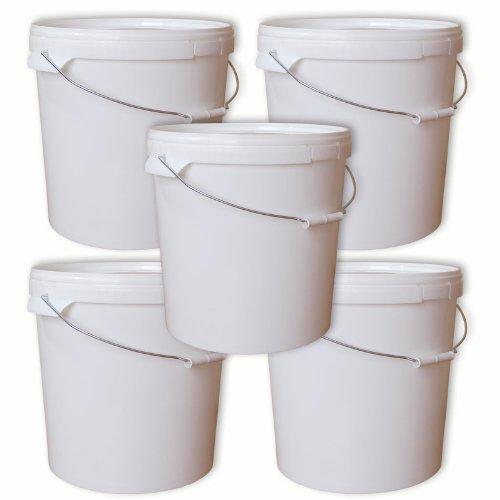 Lotto di 5 secchi plástico 20 L container qualità alimentare con coperchio e manico (5x22050)
