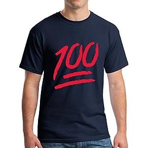Mens 100 Percent T-Shirt Red Emoji One Hunnid Logo Tee Navy S