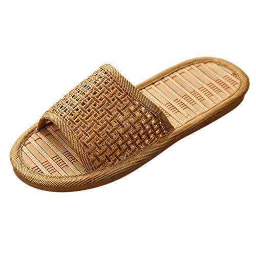 SHOBDW Mode Unisex Sommer Paare Rattan Household Slippers Indoor Schuhe Hausschuhe für Damen und Herren Paar Slipper Bambus Schlappen Sandalen Open Toe Pantoffeln Geeignet Für Die Dusche Zu Hause