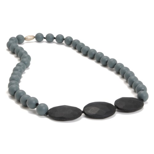 Chewbeads Greenwich Teething Necklace, 100% Safe Silicone - Stormy Grey