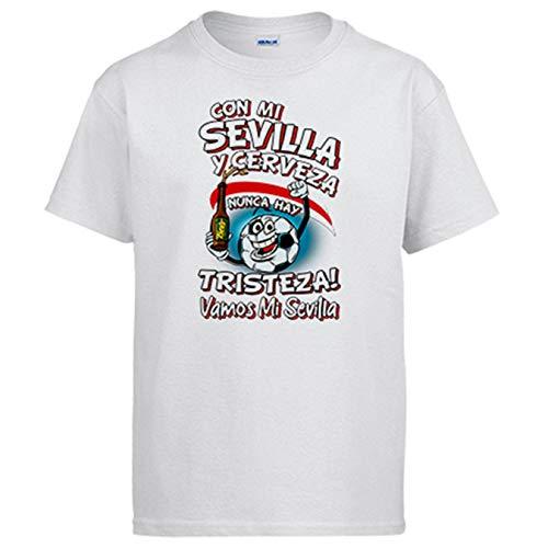Camiseta Frase con mi Sevilla y Cerveza Nunca Hay Tristeza para Aficionado al fútbol - Blanco, 5-6 años