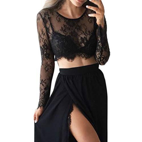 Andouy Mesh Crop Top Damen Spitze Blume Durchsichtig Transparent Langarm Shirt Größe 36-42 Sexy Party Bluse(Schwarz,40)