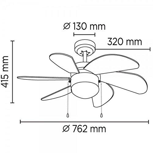Wonderlamp Basic Ventilador De Techo E27, 15 W, Multicolor, 76.2 x ...