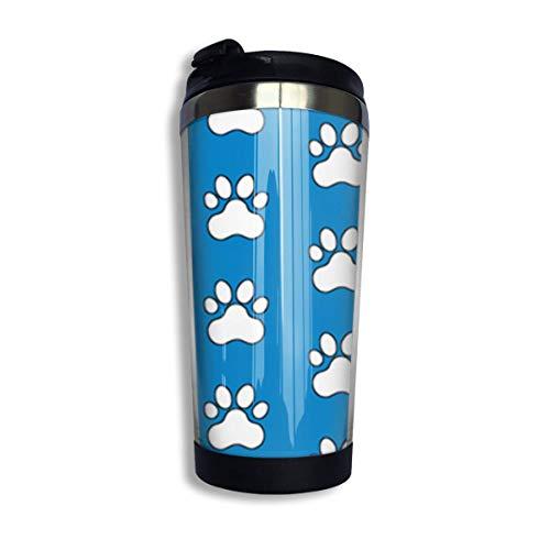 Dog Paw Prints Edelstahl Dauerhafte isolierte Kaffeetassen mit Deckel 400 ml doppelwandige Reisekaffeegläser für den Außenbereich